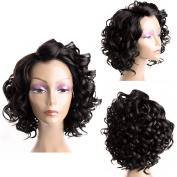 FeiBin Synthetic Lace Front Wig Curly Wavy Hair Wigs For Black Women Short Hairstyles Nutural Black Colour