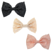 Floral Lace Bow Metal Alligator Hair Clips, Barrettes Approx. 13cm x 8.9cm , 3-Pack, Black, Beige & Pink