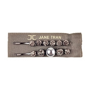 Jane Tran Crystal Droplets with Centre Pearl Bobby Pins