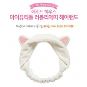 Dorisue Edute House White Cat ear SPA lace Wash Face Make Up Remover Towel Headband YOGA LACE