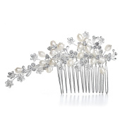 Mariell Bridal Hair Comb Headpiece with Freshwater Pearls on Silver Floral Vine