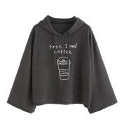 Women's Sweater,Neartime Long Sleeve Grey Letter Print Hooded Sweatshirt Pullovers