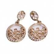 DGI MART Fashion Golden Plated Rhinestones Flower-branch Ear Stud Earrings Ear Rings
