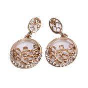 DGI MART Fashion Golden Plated Rhinestones Flower-branch Ear Stud Earrings Ear Rings