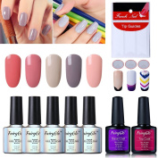 FairyGlo 5 Colour PCS Nude Gel Nail Polish + Base Top Coat + 3 Styles of Nail Tip Guides French Stickers UV LED Soak Off Elegant Manicure Pro Nail Art Fashion Collection DIY New Gift Set 10ml 014