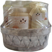 Honey & Almond Gift Bamboo Basket Set - Shower gel, Bubble bath, Body lotion, Body scrub, Bath salts, Soap