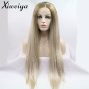 Xiweiya Silky Straight Ombre Brown Blonde 2 Tone Colour Mix Colour Synthetic Lace Front Wig Middle Part Heat Resistant Replacement Wig For Women