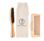 Spartans Den Beard Kit - 100% Pearwood Beard Comb and 100% Natural Boar Beard Brush Set - Best For Grooming Your Beard When Using Oil, Balm, Wax & Pomade -  .  d …