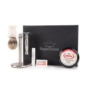 RoyalShave Merkur 43C Stainless Steel Shaving Set - Omega Cream