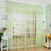 Academyus Drape Panel Room Sheer Home Door Window Decoration Tulip Flower Voile Curtain (Green 100cm x 200cm
