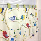 Cute Birds Cotton Pinted Lace Window Treatment Curtains Valances for Kitchen Bath Bedroom Living Room 140cm x 70cm
