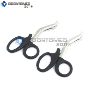 OdontoMed2011® 2 PCS PARAMEDIC UTILITY BANDAGE FIRST AID STAINLESS STEEL TRAUMA EMT EMS SHEARS SCISSORS 18cm BLACK ODM