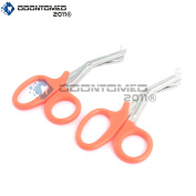 OdontoMed2011® 2 PCS PARAMEDIC UTILITY BANDAGE FIRST AID STAINLESS STEEL TRAUMA EMT EMS SHEARS SCISSORS 18cm NEON ORANGE ODM