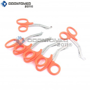 OdontoMed2011® 6 PCS PARAMEDIC UTILITY BANDAGE FIRST AID STAINLESS STEEL TRAUMA EMT EMS SHEARS SCISSORS 18cm NEON ORANGE ODM