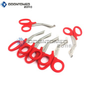 OdontoMed2011® 6 PCS PARAMEDIC UTILITY BANDAGE FIRST AID STAINLESS STEEL TRAUMA EMT EMS SHEARS SCISSORS 2.2m RED ODM