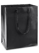 100 Black Gloss Laminated Heavy Paper Tote Bag with Soft Cord Handle