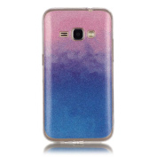 Moonmini Gradient Colour Sparkling Glitter Ultra Slim Fit Soft TPU Phone Back Case Cover for  for  for  for  for Samsung     Galaxy J1 (2016) J120 - Pink + Blue
