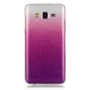 Moonmini Gradient Colour Sparkling Glitter Ultra Slim Fit Soft TPU Phone Back Case Cover for  for  for Samsung   Galaxy Grand Prime G530 - Violet