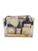 Frangipani & Vanilla Beans Deluxe Spa Gift Body Pack - Body Wash, Body Lotion, Body Spray, Bath Salts, Bath Soap in a Zippered PVC Bag