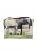 Fresh Mint Quinoa Deluxe Spa Gift Body Pack - Body Wash, Body Lotion, Body Spray, Bath Salts, Bath Soap in a Zippered PVC Bag