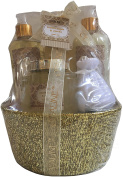 Brown Sugar & Vanilla Gift Basket Bath Set - Shower gel, Body lotion, Body spray, Bath scrub, Body puff