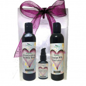Simply Radiant Beauty Organic Skin Care Bath & Body Valentines Gift Set- Black Cherry Vanilla 240ml Bubble Bath, Lotion + 60ml Hand Sanitizer