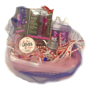 Deluxe Valentine's Day Sexy n' Sweet Gift Set Basket Massager Candle Lotion Porcelain Ornament Key to My Heart