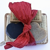 "Bogue Milk Soap- Valentines Greasemonkey Exfoliating & Acivated Charcoal Moisturising Soap Giftset-Big Hearts of Super Exfoliant & Detox ""Chiefs Peak"" B & W Moisturiser. Sisal Cloth, Nail Scrubber, Dish"