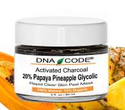 Activated Bamboo Charcoal Clear Skin Mask Peel 20% Papaya Pineapple Enzyme+Glycolic w/ Argireline, Hyluronic Acid, Vit. C, E, CoQ10. Natural/Organic 60ml