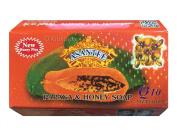 Asantee Natural Herbal Papaya with Honey plus Q10 Soap for Skin Whitening Face Organic Bar for Men & Women Body Lightening from Thailand 125g