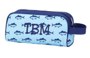 Blue with Navy Fish Print Toiletry Bag for Boys Men