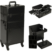 Ver Beauty 2-in-1 Professional Hair Stylist Organiser Makeup Rolling Case, Black Stripe 4-Wheels Case - VR6504