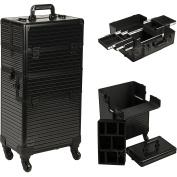 Ver Beauty 2-in-1 Professional Hair Stylist Organiser Makeup Rolling Case, Black Stripe 4-Wheels Case - VR6504