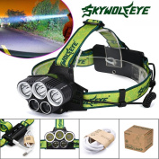 Headlamp, 25000LM 5X XML T6 LED Rechargeable 18650 USB Headlamp Headlight Head Light Torch