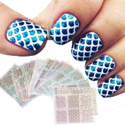 Pattern Template Stencil Stickers, Fheaven 24 SheetsSet New Nail Hollow Irregular Grid Stencil Reusable Manicure Stickers Stamping Template Nail Art Tools