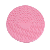 Silicone Makeup Cosmetic Brush Cleaning Washing Mat with Suction Cup, Pink