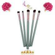 Star Beauty Eye Shadow Brush Set 5pcs ESSENTIAL Premium Quality Synthetic Brushes for Eye Shadow Crease Application-Blending-Shading-Dabbing-Filling-Defining. BEST SELLER to achieve glamorous looks.