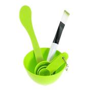 Top McKinley 4 In 1 Facial Skin Care Mask Mixing Bowl Stick Brush Gauge Spoon Set - Green
