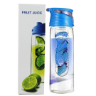 SecretRain 800ml Blue Fruit Infusing Water Bottle with Fruit Infuser and Flip Lid Lemon Juice Make Bottle- BPA Free