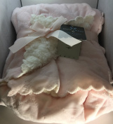 Mon Lapin Baby Blanket 80cm X 100cm Reversible Pink with Scalloped Edging/Sherpa