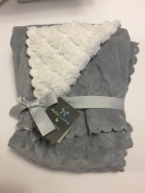 Mon Lapin Baby Blanket 80cm X 100cm Reversible Grey with Scalloped Edging/Sherpa