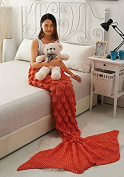 Warm Acrylic Fibres Mermaid tail Throw Blanket Handmade Fashion Princess Scales Pattern Quilt for Adult, Teen (6.6cm x 15cm , Light Orange)-Prosshop