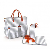 YuHan Canvas Baby Nappy Bag Messenger Changing Pad Shoulder Bag Organiser Handbag Tote Fit Stroller Grey