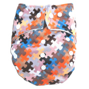 "Kawaii Baby One Size Organic Bamboo Terry Cloth Nappy with 2 Bamboo Inserts ""Jigsaw Puzzle"""