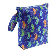Blueberry Nappy Wet Bag Seahorses