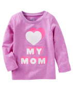 Oshkosh Girl's Long Sleeve Heart My Mom Graphic Tee; Purple