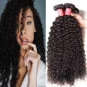 KLAIYI Indian Virgin Human Hair 4 Bundles Grade 7A Good Quality Curly Hair Extensions Remy Sexy Crazy Curly Hair Weave Soft and Tangle Free 95-100g/bundle Natural Colour