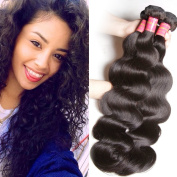Sunber Hair Brazilian Body Wave Hair 3 Bundles Mixed Length, 100% Unprocessed Human Hair Weave Extensions Can Be Dyed and Bleached