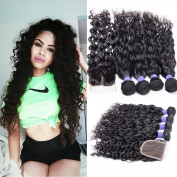 Guangxun Hair 7A Water Wave 4 Bundles With 4x 4 Free Part Lace Closure Unprocessed Brazilian Virgin Hair Bundles With Lace Closure Natural Colour 18 20 22 22 with 41cm
