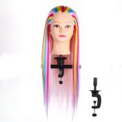 Long Hair Training Mannequin Head,Salon Practise 60cm Colourful Hairdressing Manikin Head with Clamp